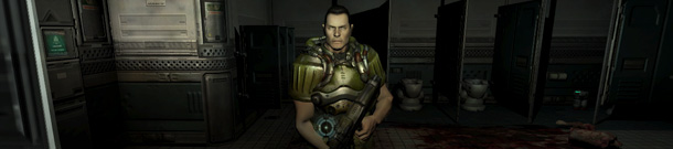 Me looking into the mirror in DOOM3. The crosshair was the clue.